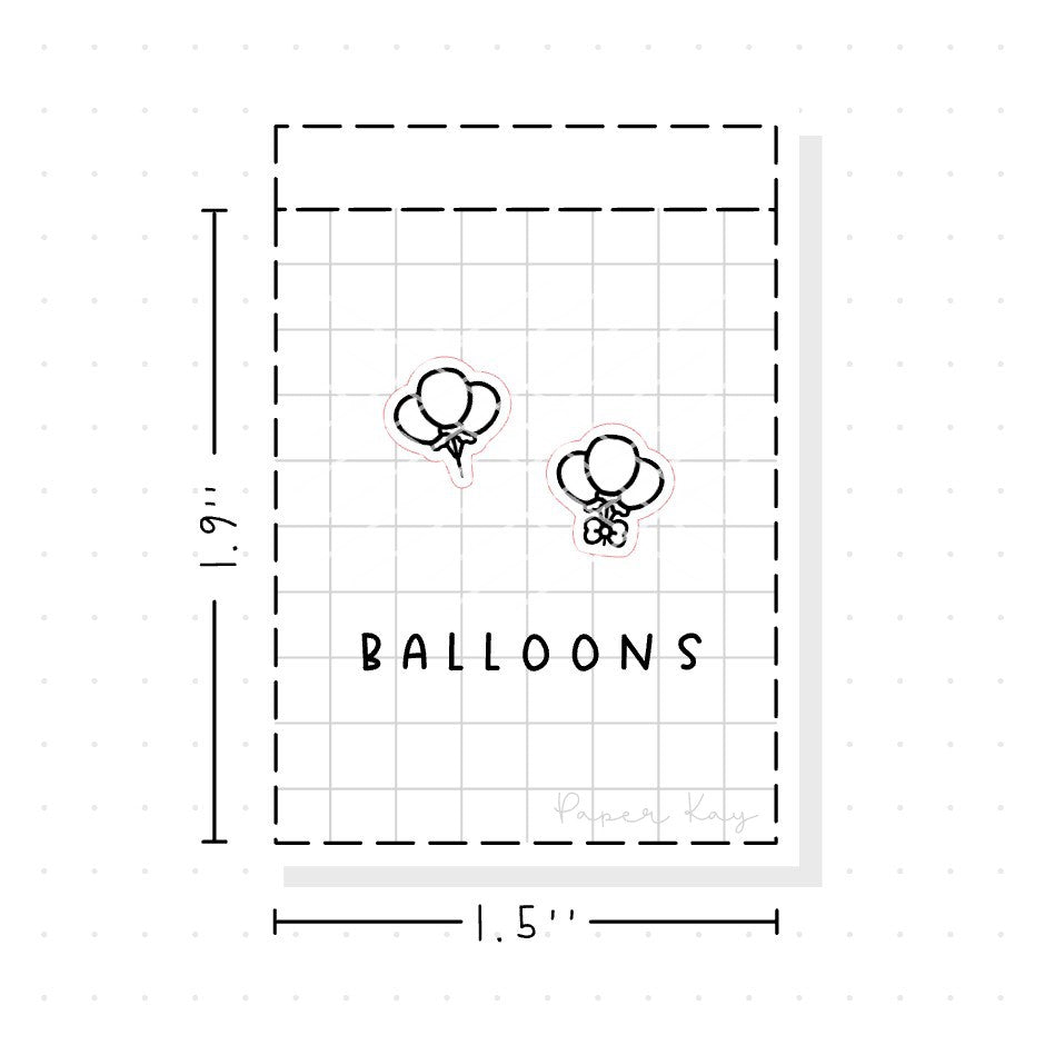 (PM010) Celebration Balloons - Tiny Minimal Icon Stickers