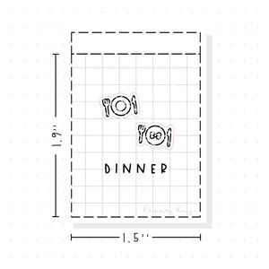 (PM013) Meal / Plate - Tiny Minimal Icon Stickers