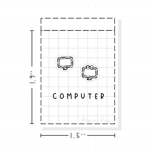 (PM029) Computer / Working - Tiny Minimal Icon Stickers