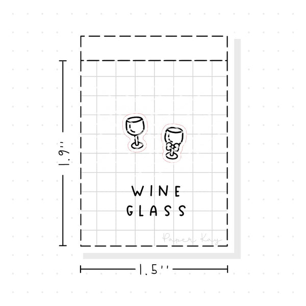 (PM059) Wine Glass / Alcohol - Tiny Minimal Icon Stickers