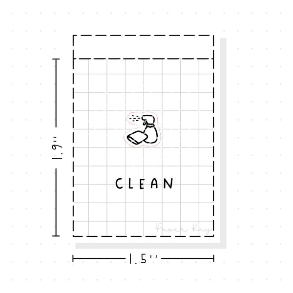 (PM061) Cleaning - Tiny Minimal Icon Stickers