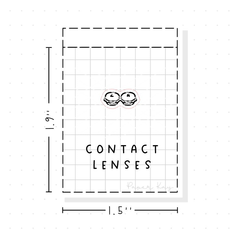(PM063) Contact Lenses / Opticians - Tiny Minimal Icon Stickers