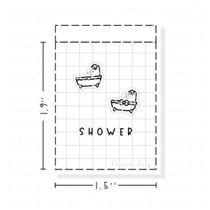 (PM075) Shower - Tiny Minimal Icon Stickers