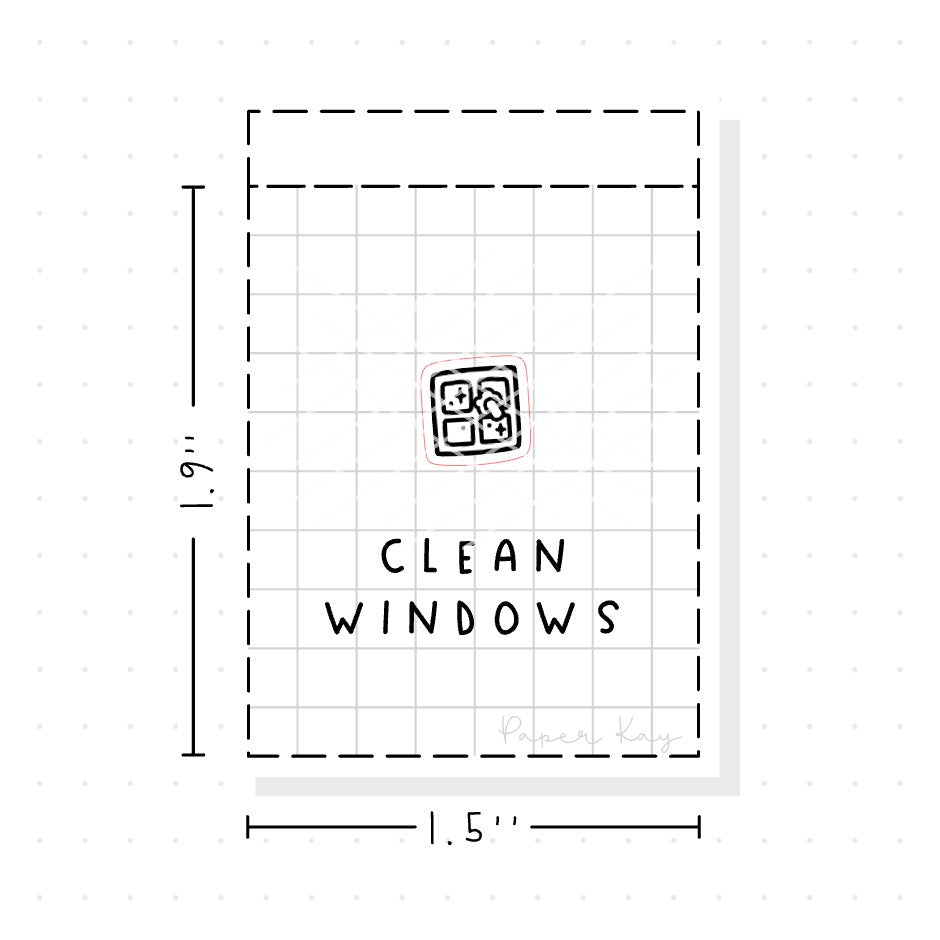 (PM077) Clean Windows - Tiny Minimal Icon Stickers
