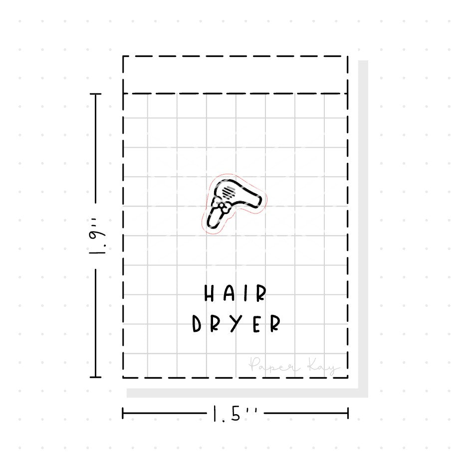 (PM092) Hair Dryer - Tiny Minimal Icon Stickers