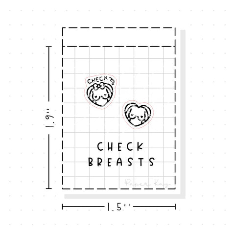 (PM102) Breast Checkup - Tiny Minimal Icon Stickers