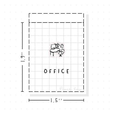 (PM133) Office Desk - Tiny Minimal Icon Stickers