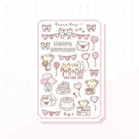 Sweet Birthday Bujo Deco Planner Stickers
