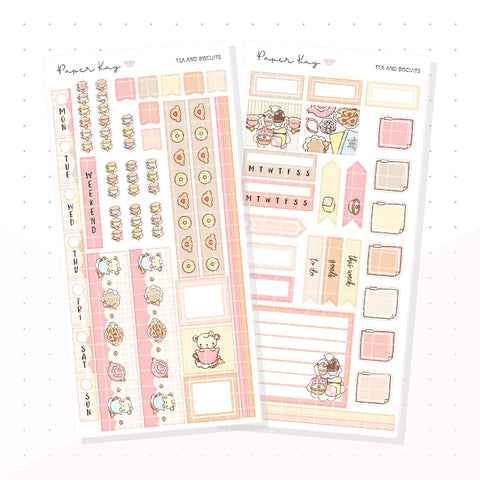 Tea and Biscuits Hobonichi Weeks Kit - Planner Stickers