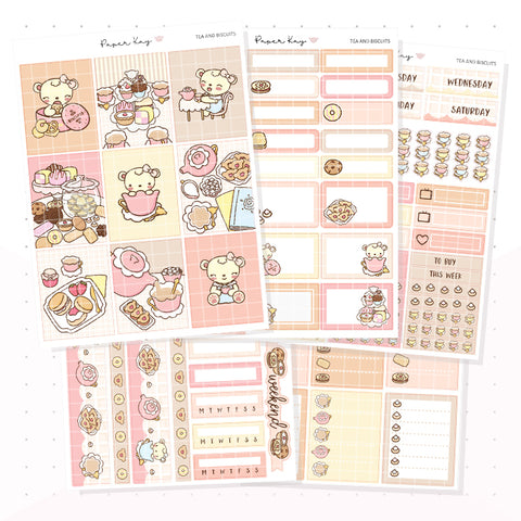 Tea and Biscuit Weekly Vertical Kit - Planner Stickers