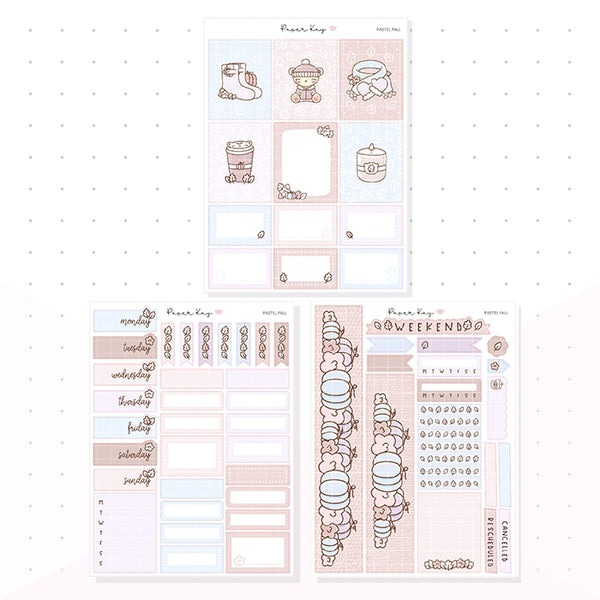 Pastel Fall Weekly Vertical Kit - Planner Stickers
