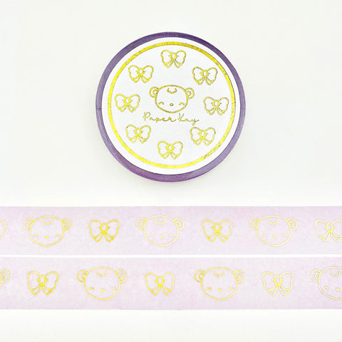 Dot the Bear and Bows, Gold Foiled Washi Tape