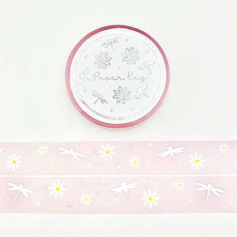 Silver Foiled, Dragonflies and Daisies Washi Tape