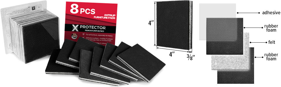 Non Slip Furniture Pads  set of 8 PCS 4""