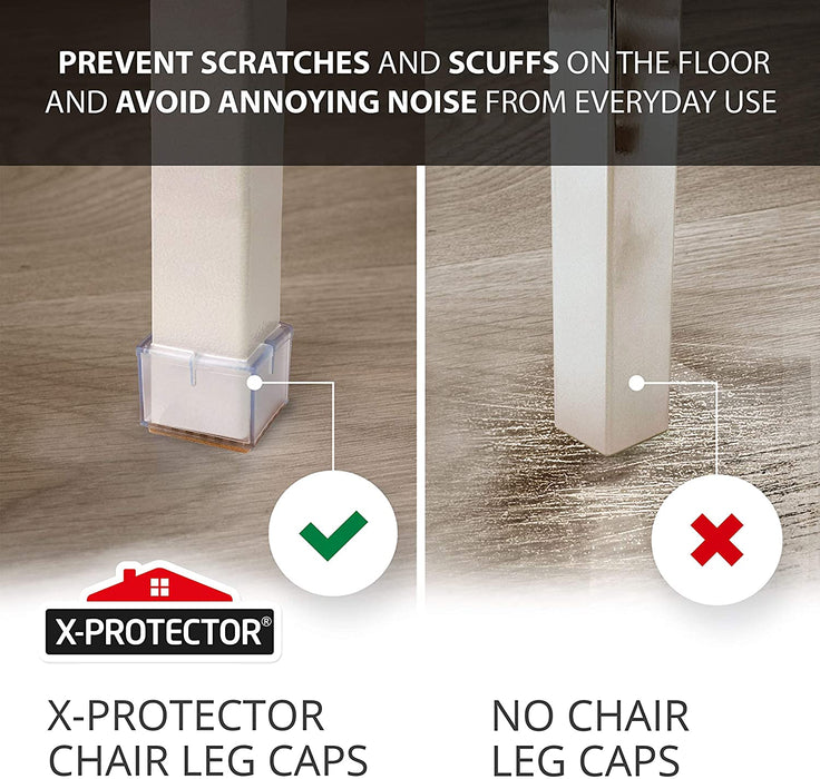 "Chair Leg Caps by X-PROTECTOR 16pcs - Silicone Floor Protectors for chairs 1 ¾""- Premium Chair Protectors for Hardwood Floors – Protect and GLIDE SMOOTHLY on the Floor - X-Protector"