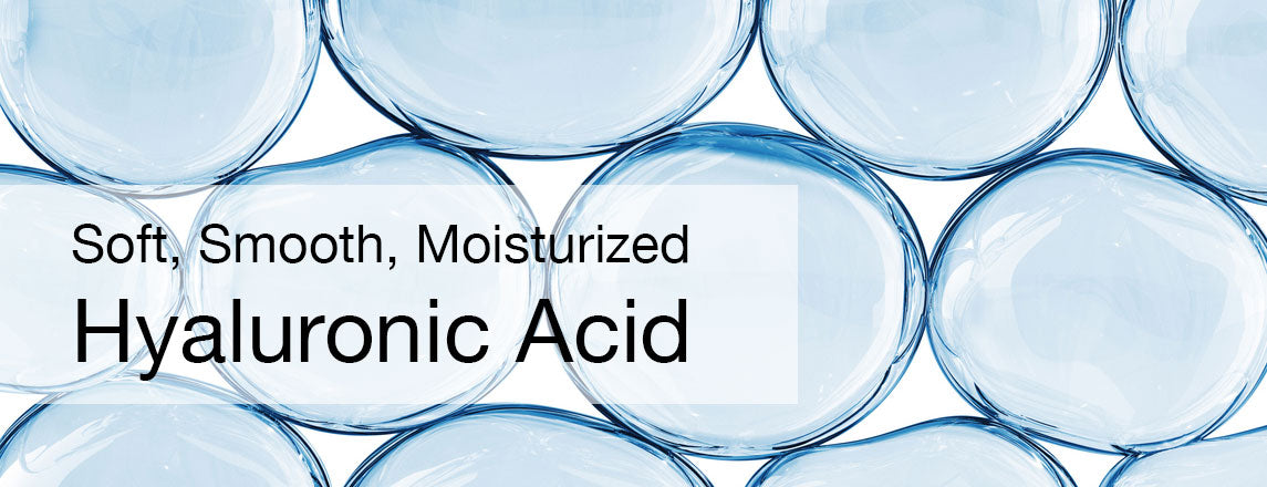 Water bubbles with headline Soft Smooth Moisturized Hyaluronic Acid