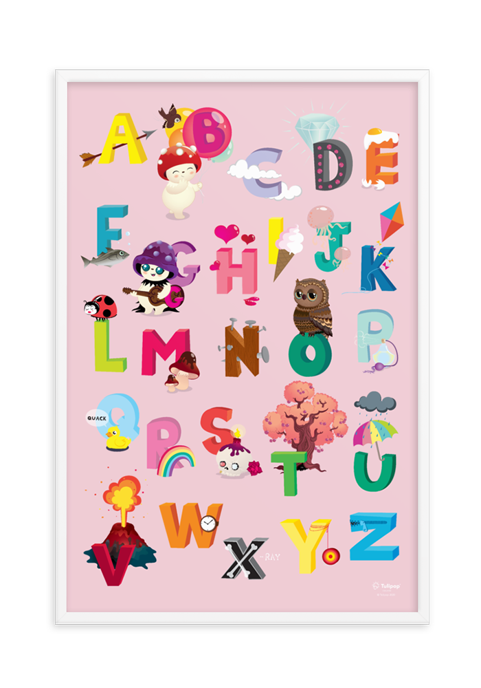 Framed Pink ABC poster