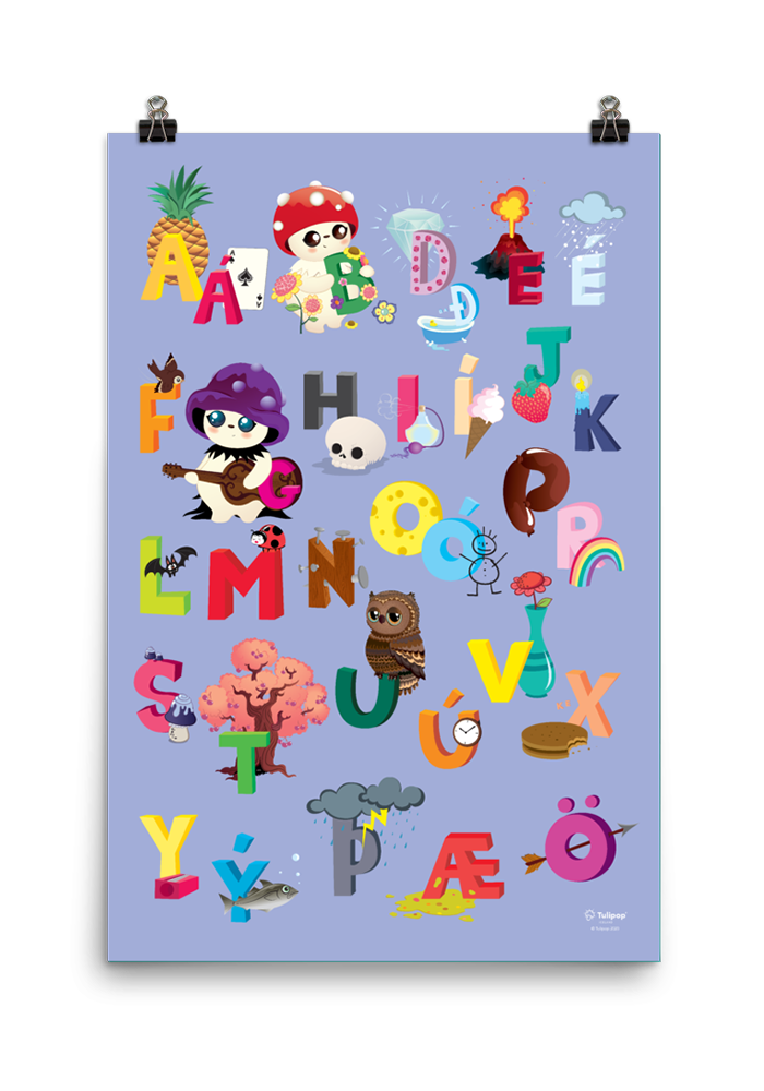 Icelandic ABC Poster Purple