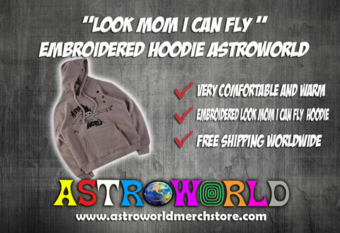 Look Mom I Can Fly Embroidered Hoodie