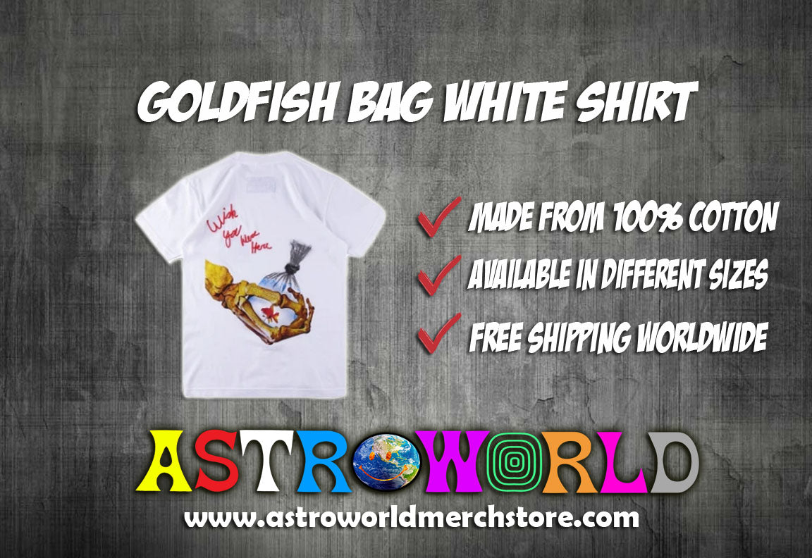 Goldfish Bag Shirt White Shirt - AstroWorlds Merch【Limited Collection 】