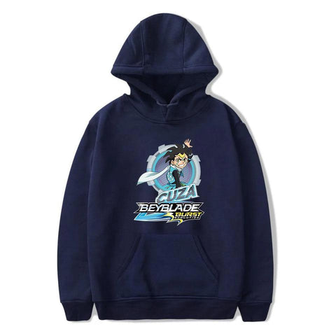 guide des tailles Sweat-shirt à capuche Beyblade Burst Evolution Cuza Ackermann bleu