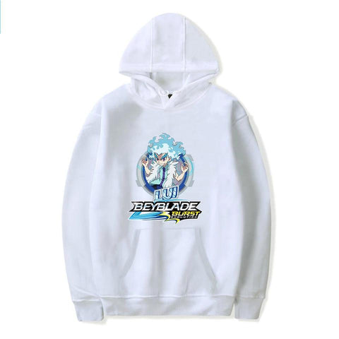Sweat à capuche Beyblade Burst Evolution Lui Shirosagi blanc