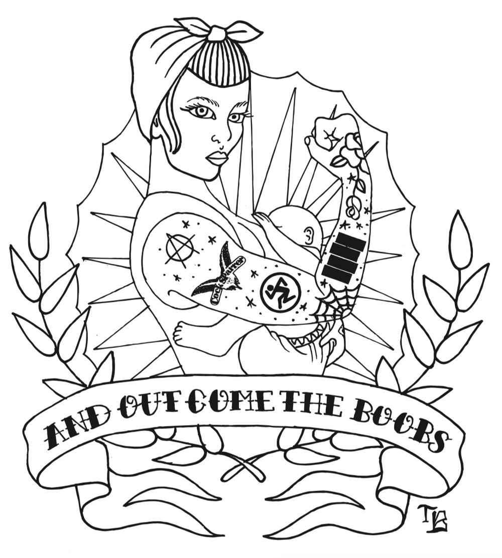 Line drawing of a pin up punk mama breastfeeding her baby. The film is a downloadable pdf coloring sheet.