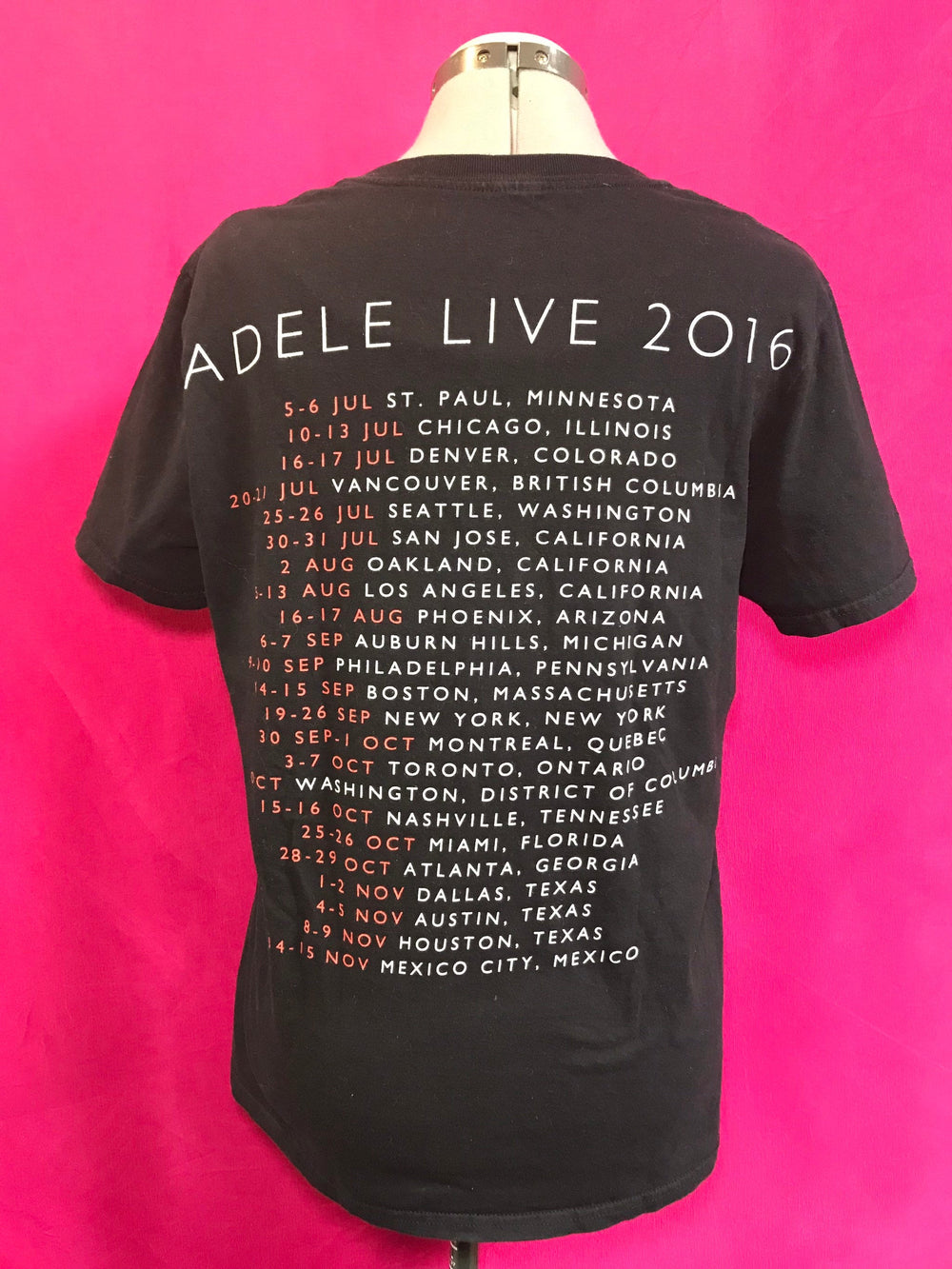Back of Adele tour shirt.