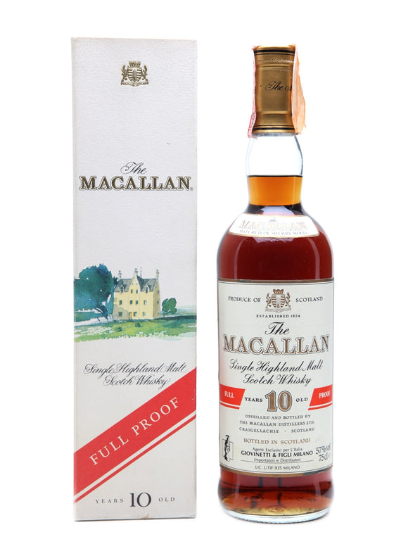 Distillery: The Macallan Name: 10 Years Full Proof Volume: 75CL ABV: 57.% Notes: Special Editions : Scotland Origin: Craigellachie, Speyside, Scotland