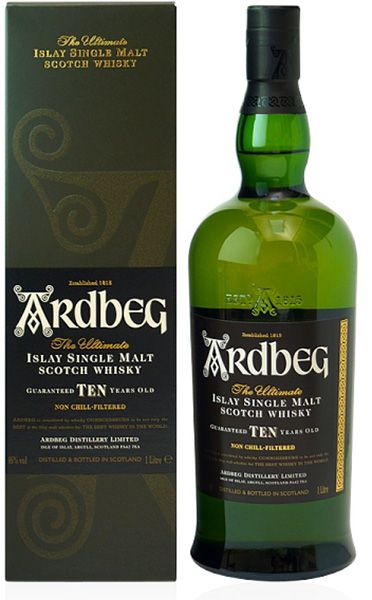 Distillery: Ardbeg Name: 10 Years Volume: 1L ABV: 46% Notes: Single Malt Origin: Port Ellen, Islay, Scotland