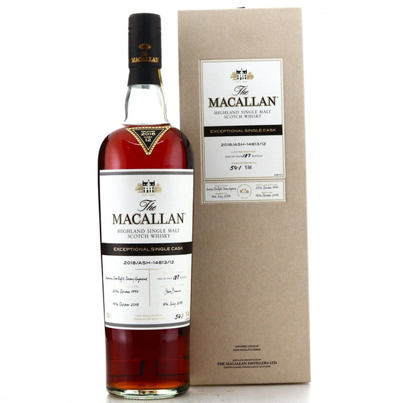 Distillery: The Macallan Name: 2018/Ash-14813/12 (1997/20 Years Old) Volume: 70CL ABV: 54.1% Edition: Single Cask Notes: The Macallan Expectional Single Cask Origin: Craigellachie, Speyside, Scotland