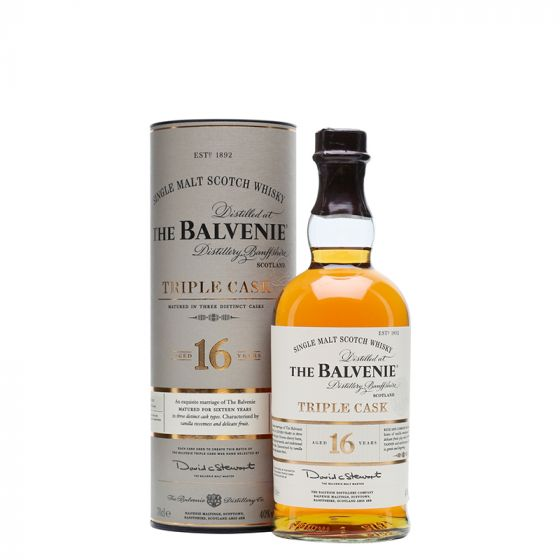 Distillery: The Balvenie Name: 16 Years Triple Cask Volume: 70CL ABV: 40% Notes: Single Malt Origin: Dufftown, Speyside, Scotland