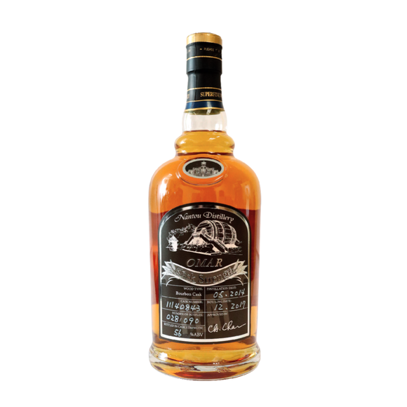 Distillery: Omar Name: Cask Strength, Bourbon Cask 11140843 Volume: 70CL ABV: 56.% Notes: Blended Malt Origin: Taiwan