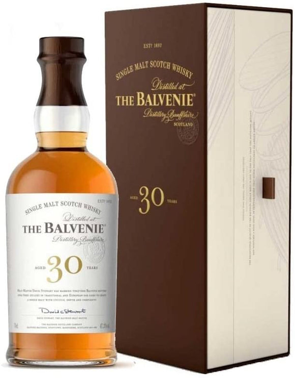 Distillery: The Balvenie Name: 30 Years Volume: 70CL ABV: 47.3% Notes: Single Malt Origin: Dufftown, Speyside, Scotland