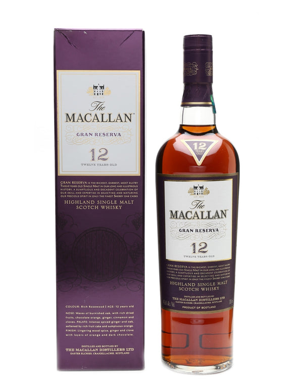 Distillery: The Macallan Name: Gran Reserva 12 Years Volume: 70CL ABV: 45.6% Notes: Single Malt Origin: Craigellachie, Speyside, Scotland
