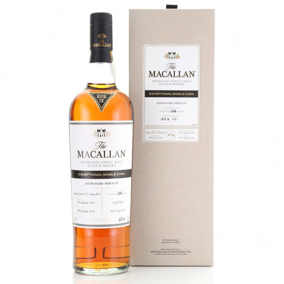Distillery: The Macallan Name: 2018/Asb-1683/13 (1950/67 Years Old) Volume: 70CL ABV: 53.4% Edition: Single Cask Notes: The Macallan Expectional Single Cask Origin: Craigellachie, Speyside, Scotland