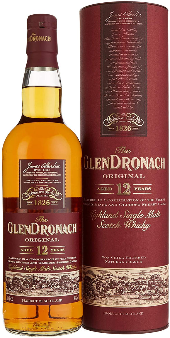 Distillery: Glendronach Name: 12 Years - Oringinal Volume: 70CL ABV: 43% Notes: Single Malt Origin: Aberdeenshire, Highland, Scotland
