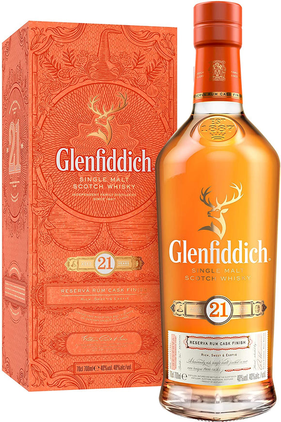 Distillery: Glenfiddich Name: 21 Years Volume: 70CL ABV: 40% Notes: Single Malt Origin: Dufftown, Speyside, Scotland