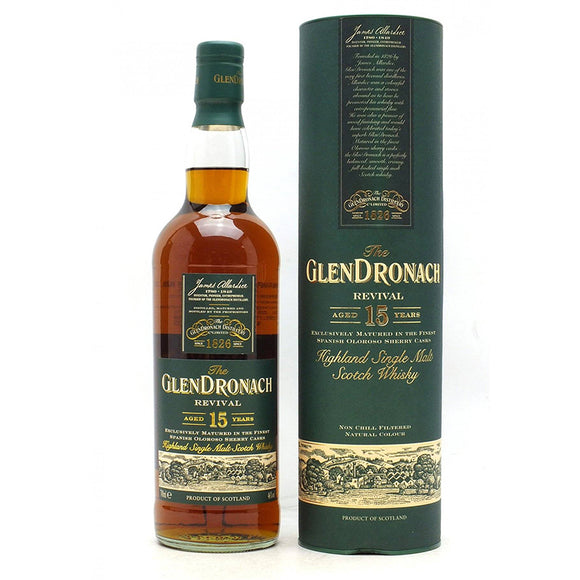 Distillery: Glendronach Name: 15 Years - Revival - 2019 Volume: 70CL ABV: 46% Notes: Single Malt Origin: Aberdeenshire, Highland, Scotland