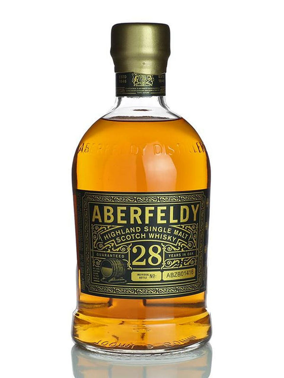 Distillery: Aberfeldy Name: 28 Years Volume: 70CL ABV: 40% Notes: Single Malt Origin: Aberfeldy, Highland, Scotland