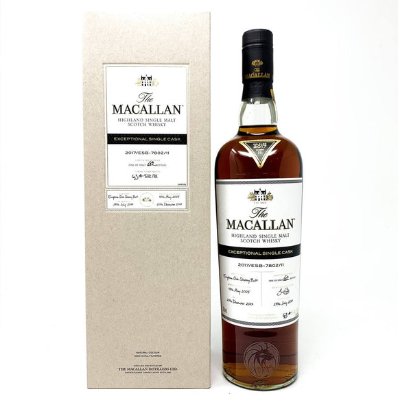 Distillery: The Macallan Name: 2017/Esb-7802/11 (2005/12 Years Old) Volume: 70CL ABV: 63.4% Edition: Single Cask Notes: The Macallan Expectional Single Cask Origin: Craigellachie, Speyside, Scotland