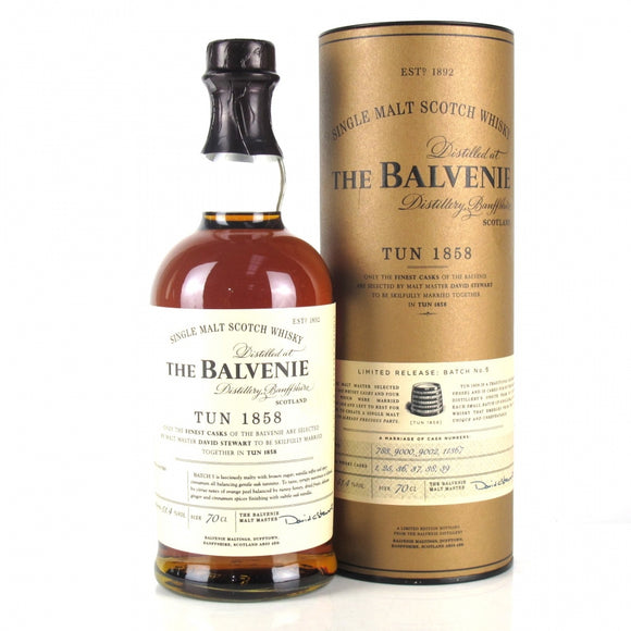 Distillery: The Balvenie Name: Tun 1858 Batch No.5 Volume: 70CL ABV: 51.4% Notes: Single Malt Origin: Dufftown, Speyside, Scotland