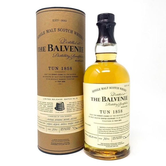 Distillery: The Balvenie Name: Tun 1858 Batch No.6 Volume: 70CL ABV: 52.3% Notes: Single Malt Origin: Dufftown, Speyside, Scotland