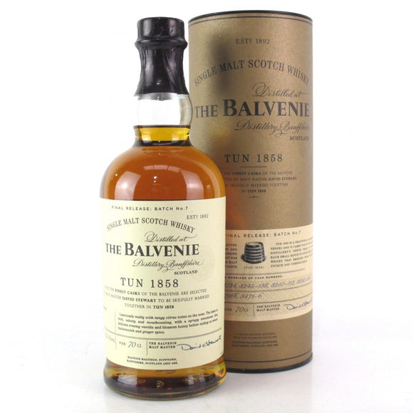Distillery: The Balvenie Name: Tun 1858 Batch 7 Volume: 70CL ABV: 52.1% Notes: Special Editions : Scotland Origin: Dufftown, Speyside, Scotland