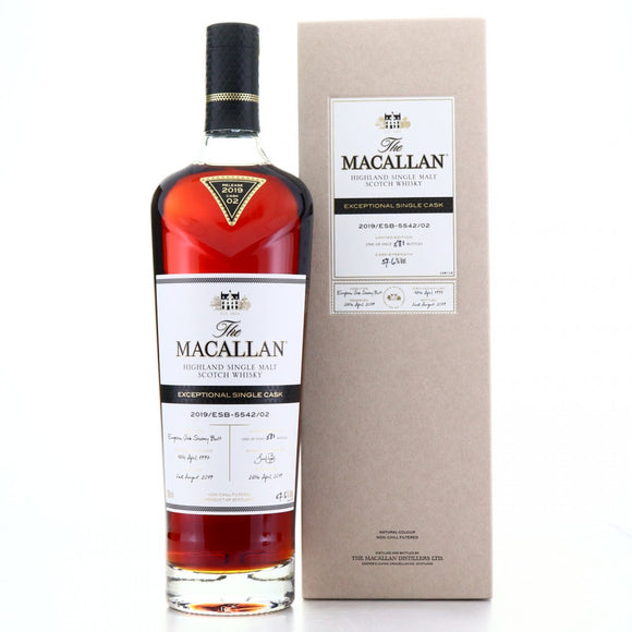 Distillery: The Macallan Name: 2019/Esb-5542/02 (1997/22 Years Old) Volume: 70CL ABV: 57.6% Edition: Single Cask Notes: The Macallan Expectional Single Cask Origin: Craigellachie, Speyside, Scotland