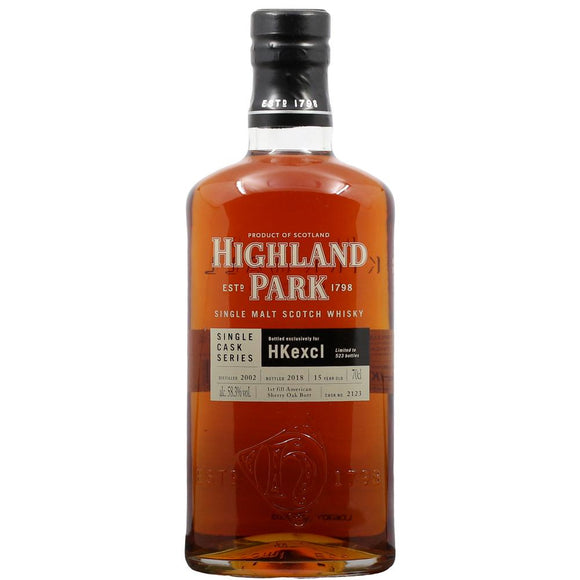 Distillery: Highland Park Name: 15 Years - Hk Exclusive Single Cask Volume: 70CL ABV: 58.3% Notes: Single Malt Origin: Kirkwall, Island, Scotland