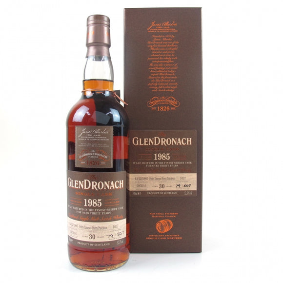 Distillery: Glendronach Name: 30 Years Single Cask #1037, 1985 (417/507) Volume: 70CL ABV: 52.3% Notes: Special Editions : Scotland Origin: Aberdeenshire, Highland, Scotland