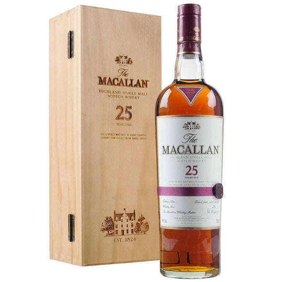 Distillery: The Macallan Name: 25 Years Sherry Oak ( 2017 And Before ) Volume: 70CL ABV: 43% Notes: Special Editions : Scotland Origin: Craigellachie, Speyside, Scotland