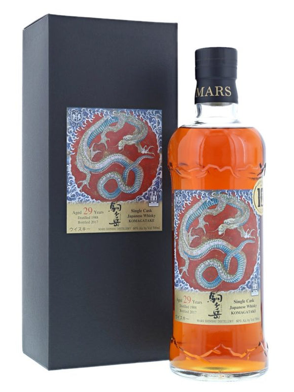 Distillery: Mars Name: Komagatake 29 Year Dragon Volume: 70CL ABV: 60% Notes: Special Editions : Japan Origin: Japan