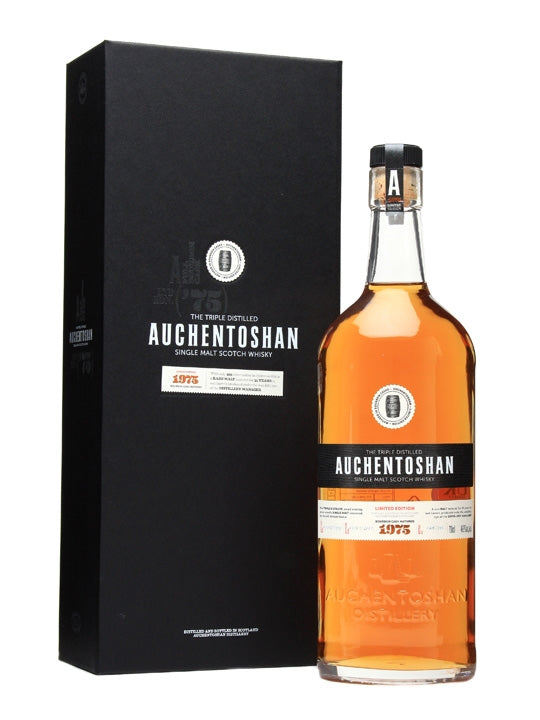 Distillery: Auchentoshan Name: 1975 35 Years Volume: 70CL ABV: 46.9% Notes: Special Editions : Scotland Origin: Dalmuir, Lowland, Scotland